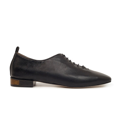 ASHLEY LIM designer shoes for women - MARIE Black Leather Lace-up Flats 1