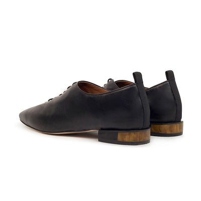 ASHLEY LIM designer shoes for women - MARIE Black Leather Lace-up Flats with unique resin heels