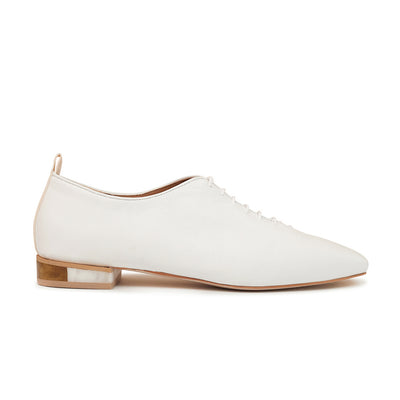 ASHLEY LIM designer shoes for women - MARIE White Leather Lace-up Flats 1