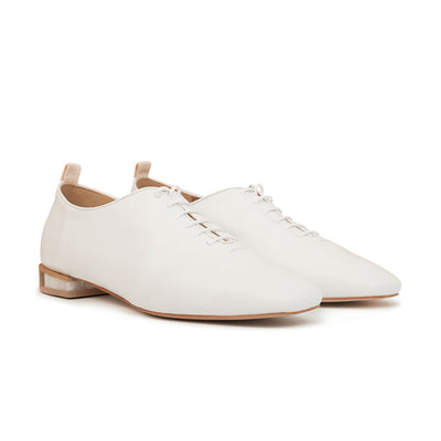 ASHLEY LIM designer shoes for women - MARIE White Leather Lace-up Flats 2