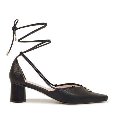 ASHLEY LIM designer shoes for women - Valentina Black Leather Strap Pumps 1