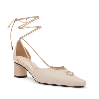 ASHLEY LIM designer shoes for women - Valentina Linen Strap Pumps 2