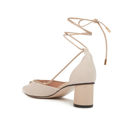 ASHLEY LIM designer shoes for women - Valentina Linen Strap Pumps 3