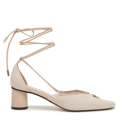 ASHLEY LIM designer shoes for women - Valentina Linen Strap Pumps 1