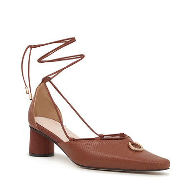 ASHLEY LIM designer shoes for women - Valentina Brown Leather Strap Pumps 2