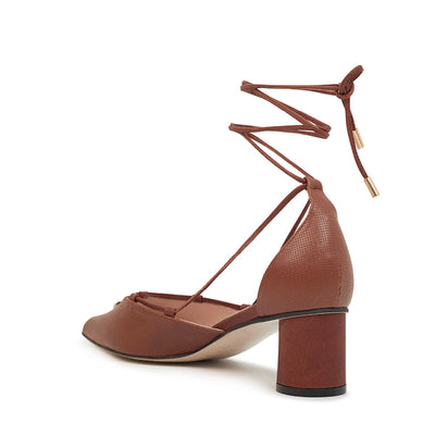 ASHLEY LIM designer shoes for women - Valentina Brown Leather Strap Pumps 3