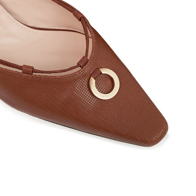 ASHLEY LIM designer shoes for women - Valentina Brown Leather Strap Pumps gold ring detail