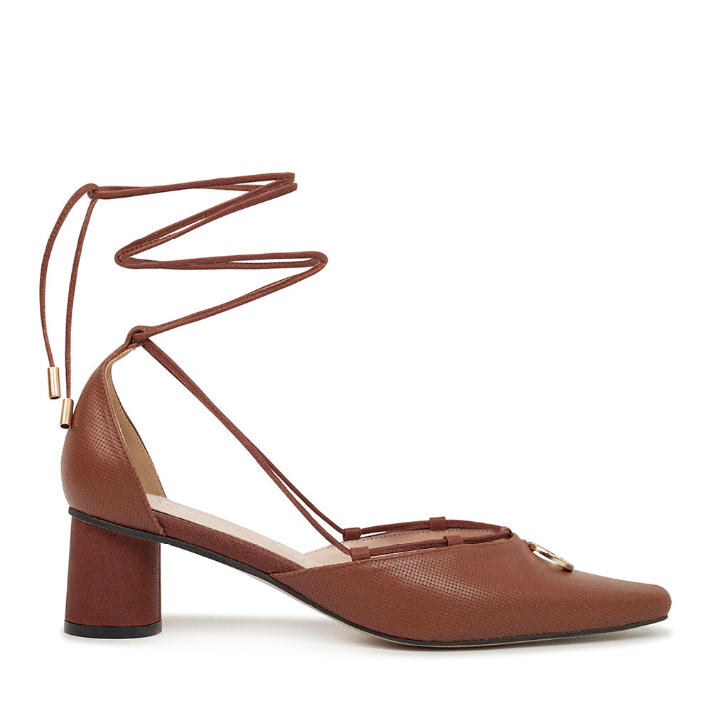 VALENTINA Leather Strap Pumps - Brown