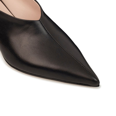 ASHLEY LIM designer shoes for women - VICTORIA Black Leather Pump Heels pointed toe box