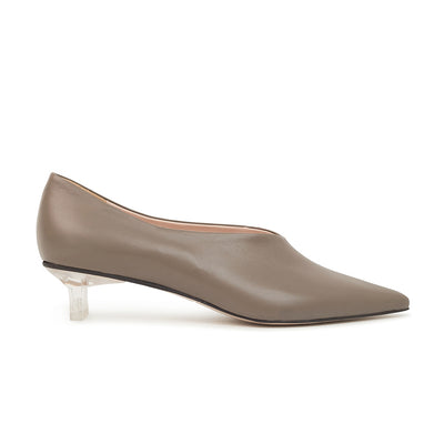 ASHLEY LIM designer shoes for women - VICTORIA Grey Leather Pump Heels 1