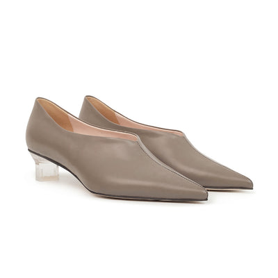 ASHLEY LIM designer shoes for women - VICTORIA Grey Leather Pump Heels 2
