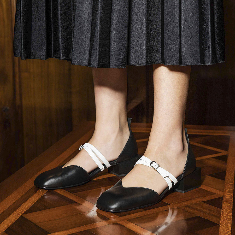 Women's Designer Mary Jane Flat Shoes - Bonnie Black Flats with Double Straps and Square Block Heels - Side