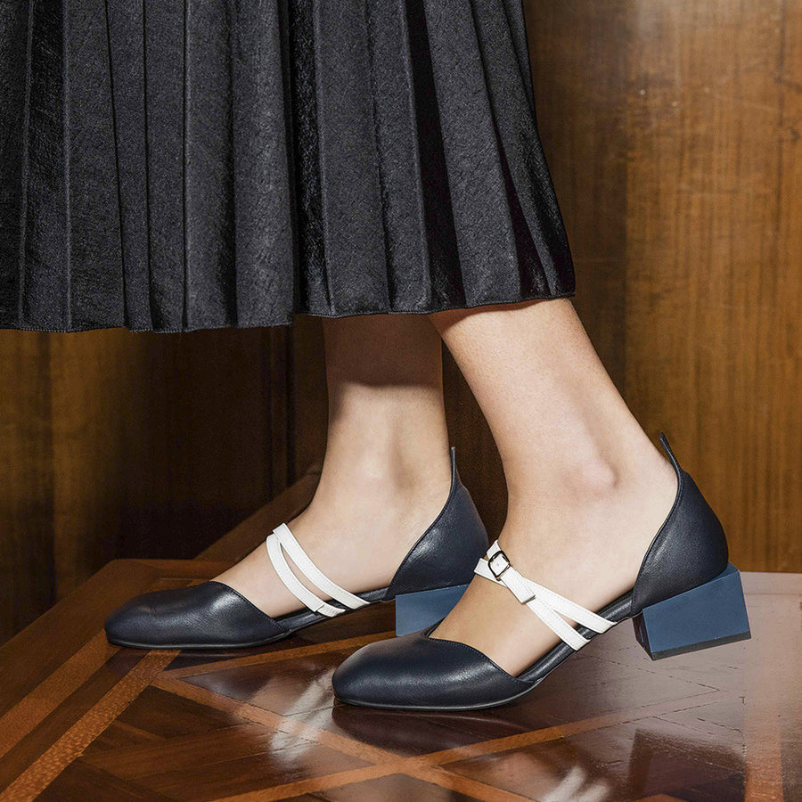 Women's Designer Mary Jane Flat Shoes - Bonnie Navy Flats with Double Straps and Square Block Heels - Side