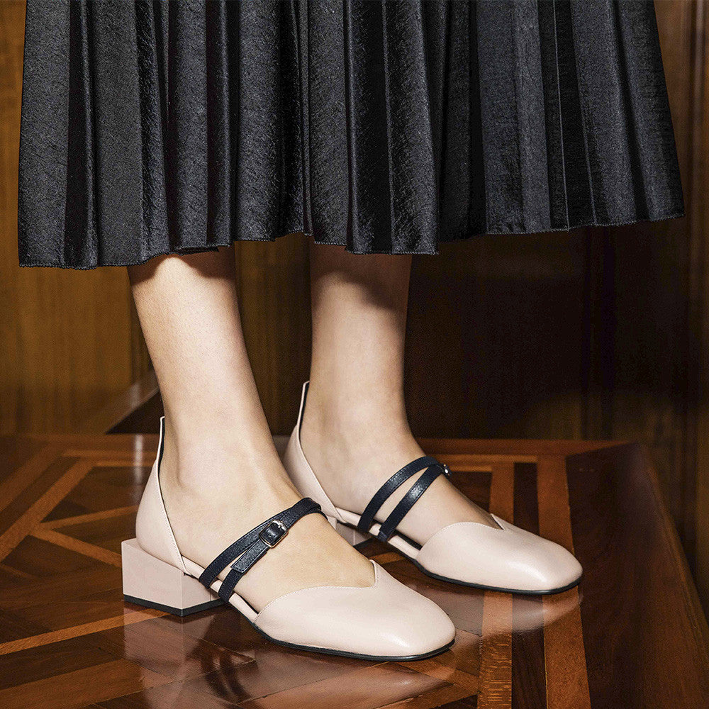 Women's Designer Mary Jane Flat Shoes - Bonnie Pink Nude Flats with Double Straps and Square Block Heels - Campaign