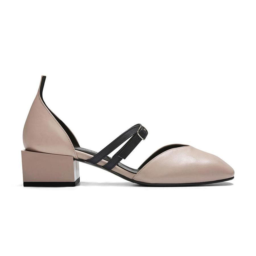 Bonnie Mary Jane Leather Flats in Nude