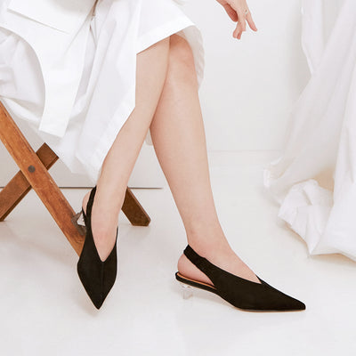 ASHLEY LIM designer shoes for women - Claudette Black Suede Slingback Heels styled with a white skirt