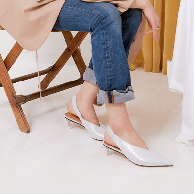 ASHLEY LIM designer shoes for women - Claudette Silver White Leather Slingback Heels styled with rolled up denims