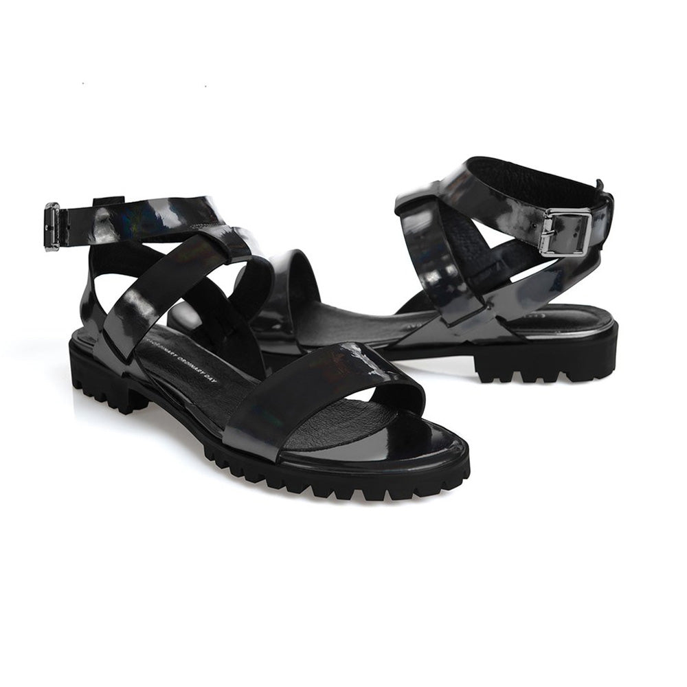 Women's Designer Sandals - Comet Rainbow Black Flat Sandals with Ankle Strap - Prospective