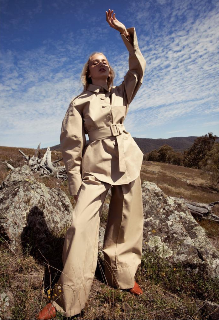 ELLE Australia features IRIS slingback flat shoes in April 2018 issue - 'Force of Nature' editorial, styled with Michael Lo Sordo beige suit