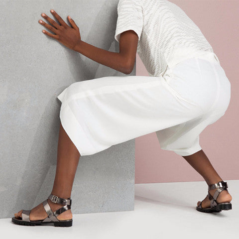 Made to Order | COMET Ankle Strap Flat Sandals - Metallic Silver - Extraordinary Ordinary Day