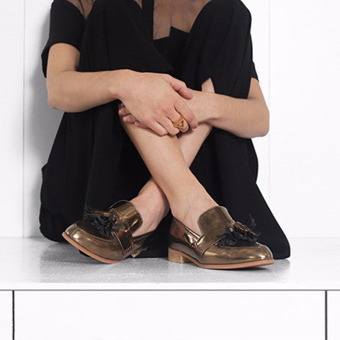 Women's Designer Shoes - Ecstasy Tassel Loafers Metallic Bronze - Campaign