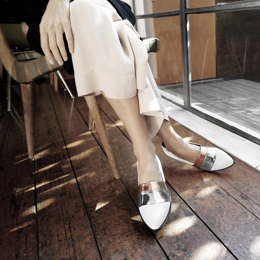 Made to Order | RUMI Leather Loafers with Metallic Bands - White - Extraordinary Ordinary Day