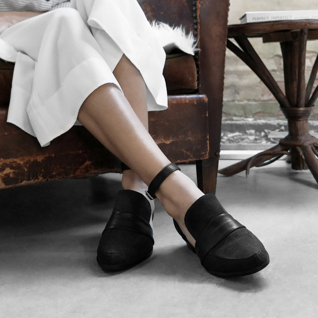 Women's Designer Shoes - Venus Black D'Orsay Flats with Ankle Strap - Photoshoot