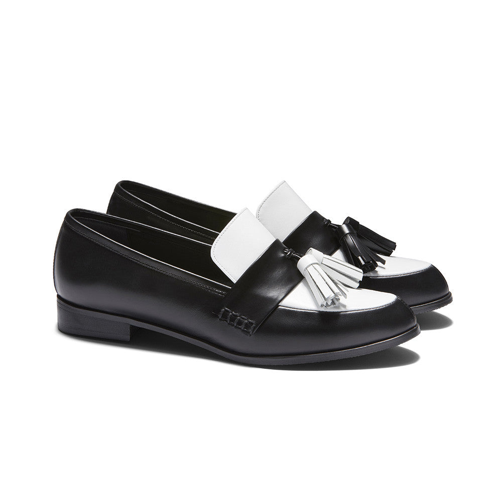 Women's Designer Shoes - Ecstasy Tassel Loafers Black and White - Perspective