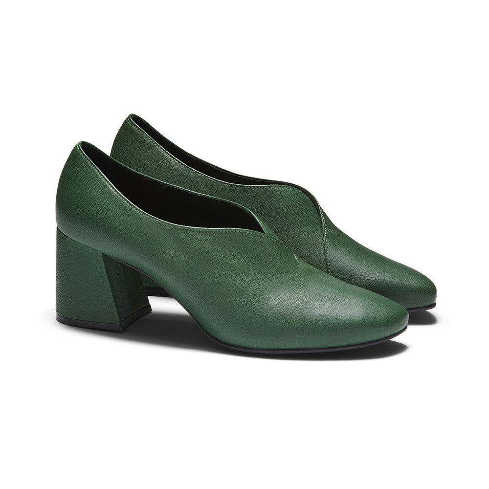 Women's Designer Pump Heel Shoes - Tara Green Leather Pumps - Prospective