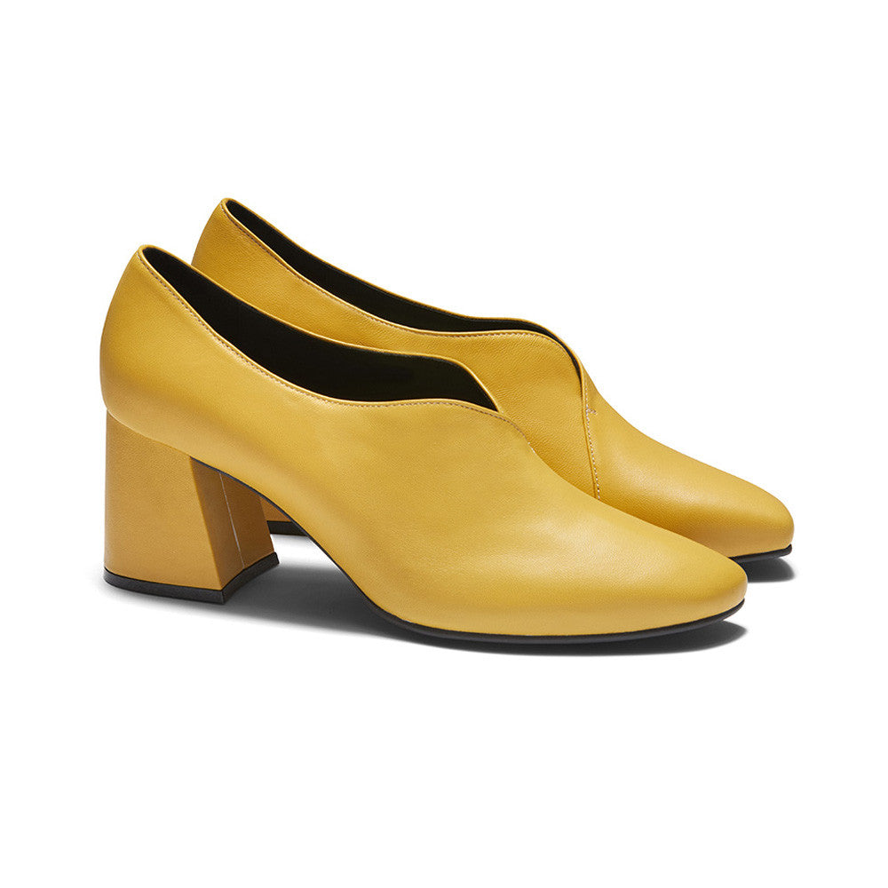 Women's Designer Pump Heel Shoes - Tara Yellow Leather Pumps - Prospective