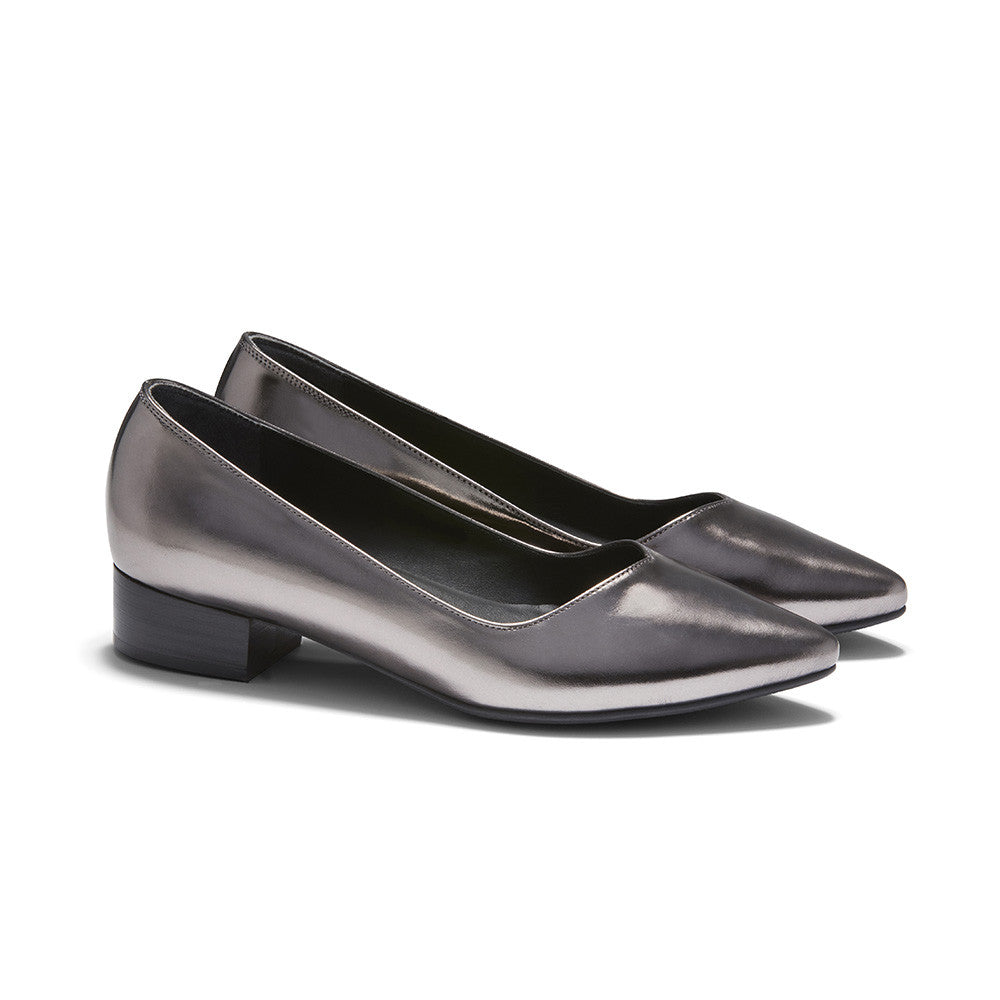 Women's Designer Flat Shoes - Palmyra Embossed Metallic Platinum Flats - Angle