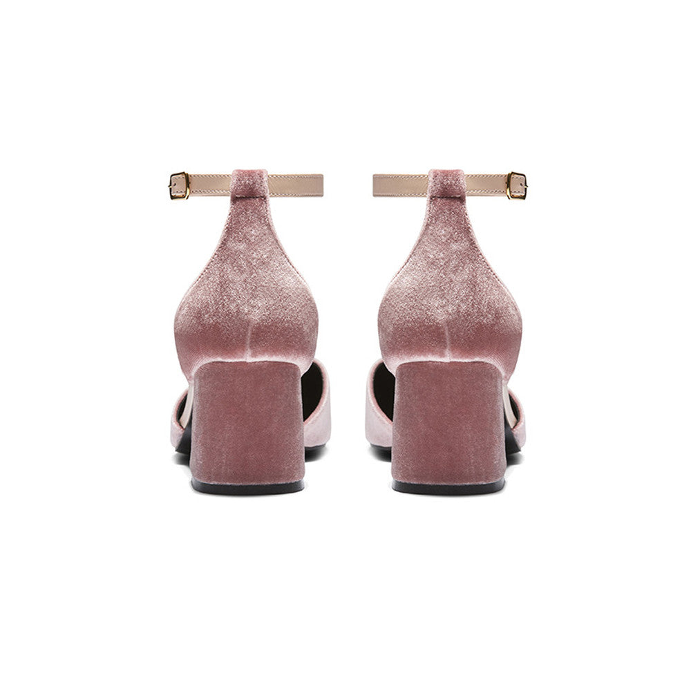 Women's Designer Mary Jane Shoes -Scarlett Pink Velvet Mary Jane Heels - Block Heel
