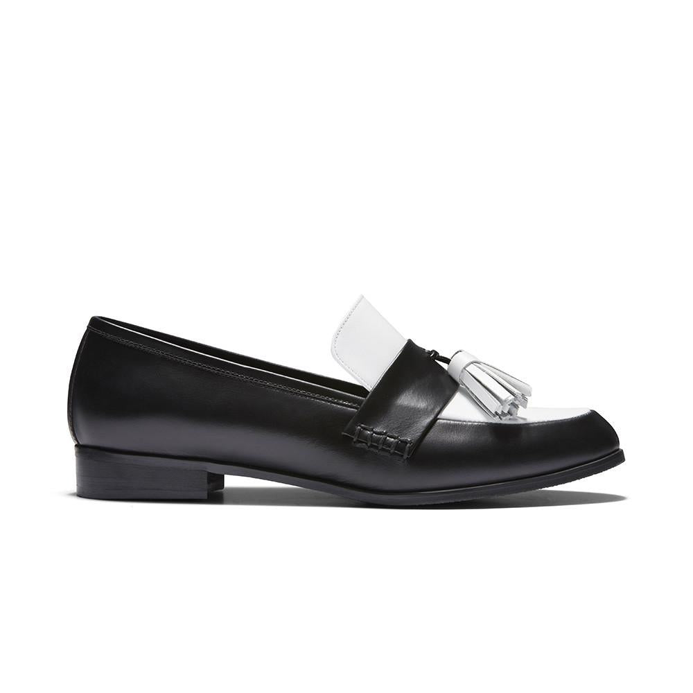 Women's Designer Shoes - Ecstasy Tassel Loafers Black and White - Side