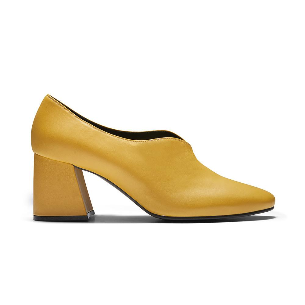 Women's Designer Pump Heel Shoes - Tara Yellow Leather Pumps - Side