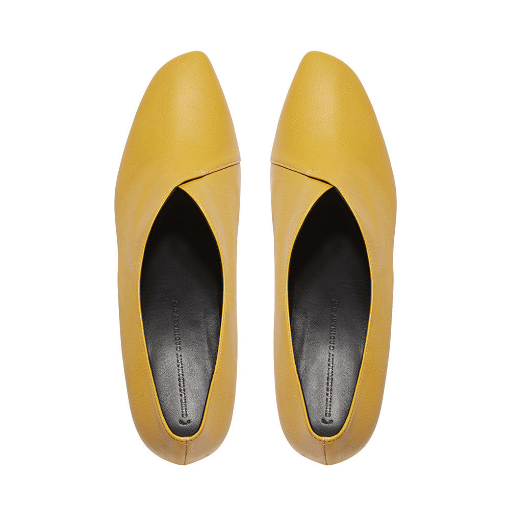 Women's Designer Pump Heel Shoes - Tara Yellow Leather Pumps - Flatlay