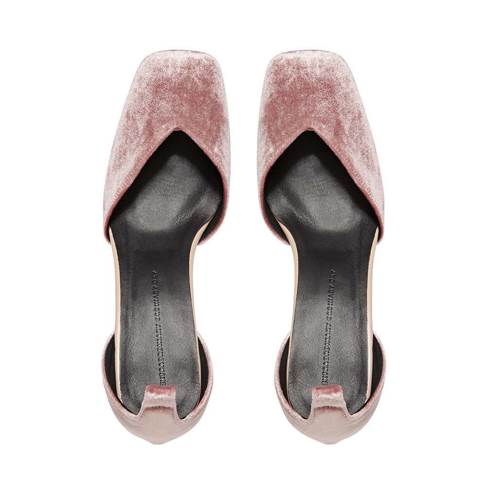 Women's Designer Mary Jane Shoes -Scarlett Pink Velvet Mary Jane Heels - Flatlay