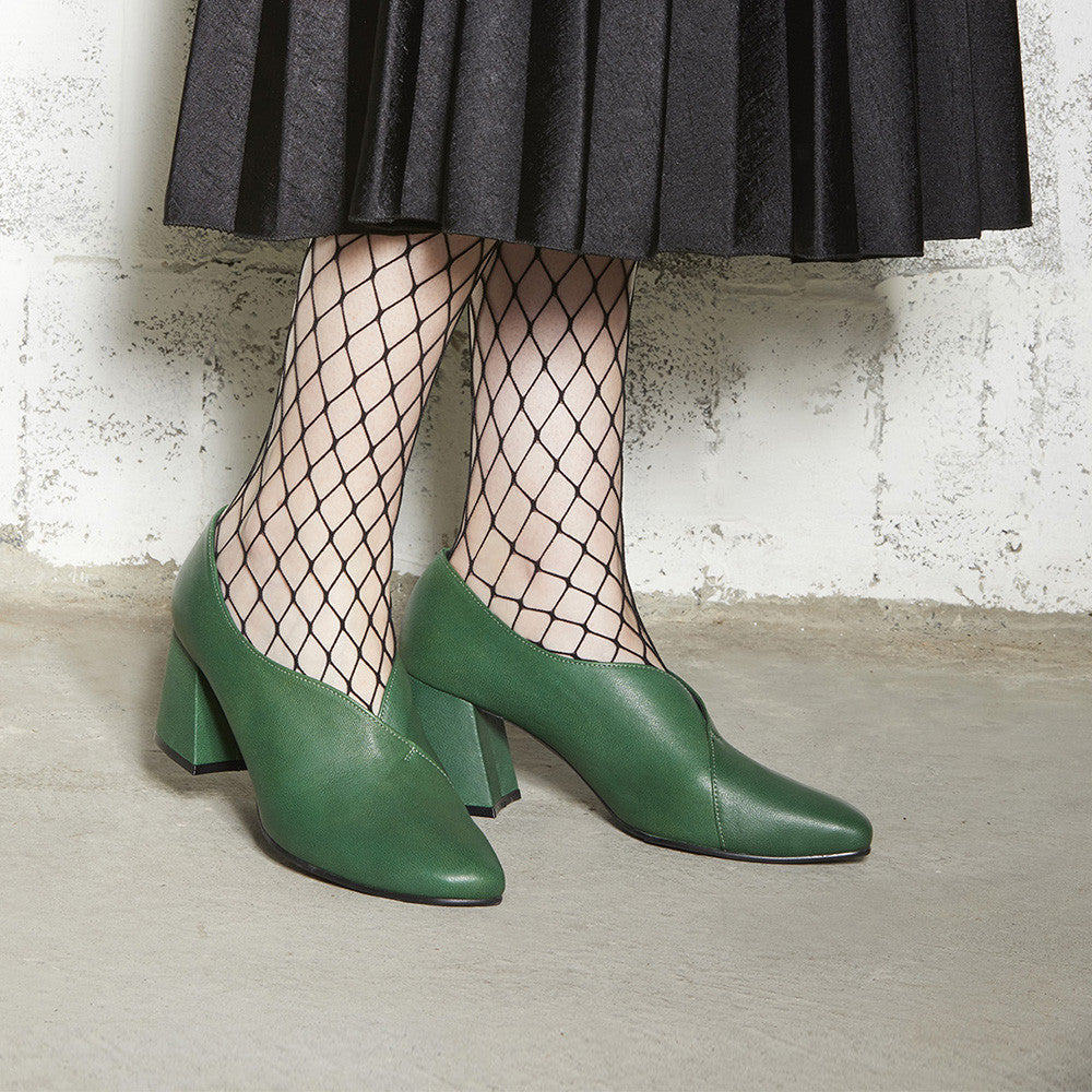 Women's Designer Pump Heel Shoes - Tara Green Leather Pumps with Fishnets
