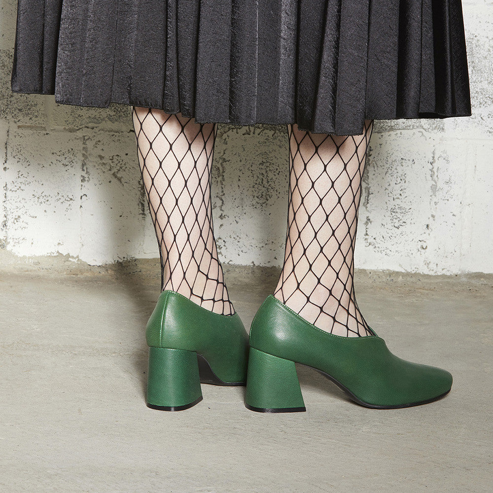 Women's Designer Pump Heel Shoes - Tara Green Leather Pumps with Fishnets - Photoshoot