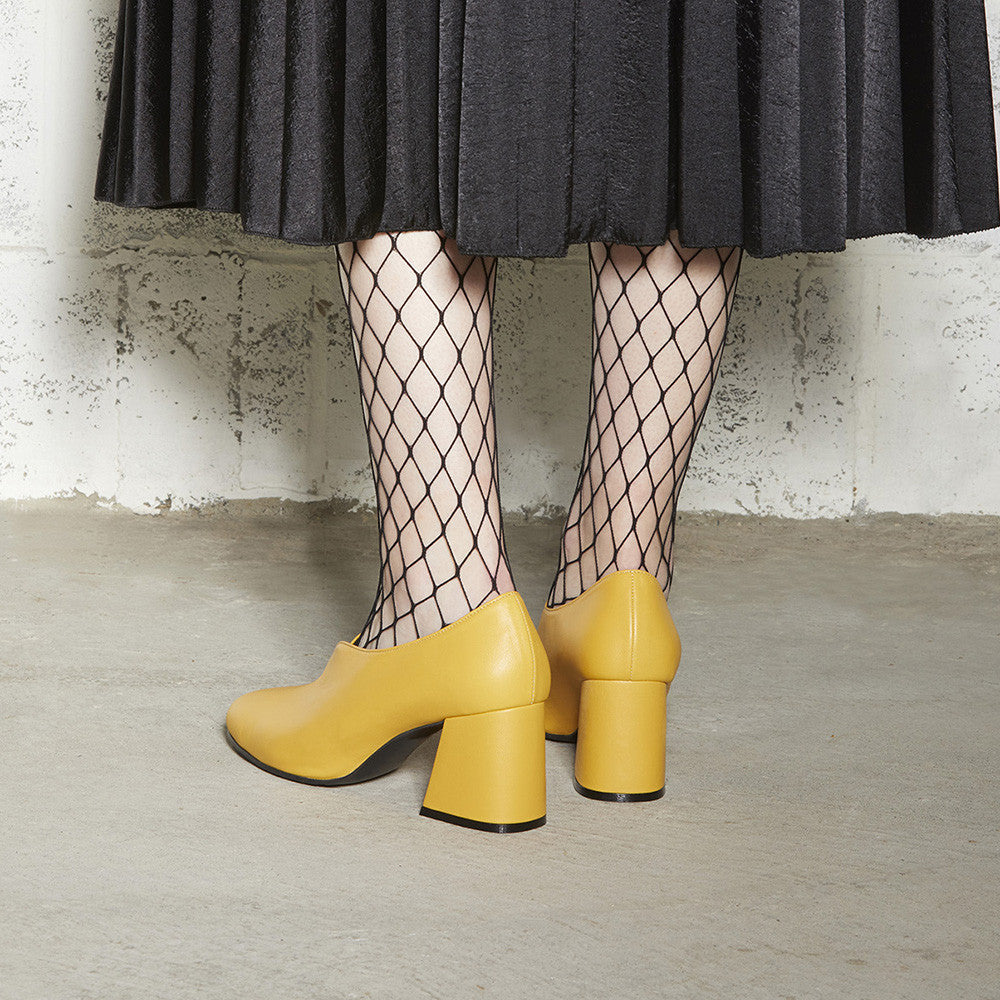 Women's Designer Pump Heel Shoes - Tara Yellow Leather Pumps with Fishnets - Photoshoot