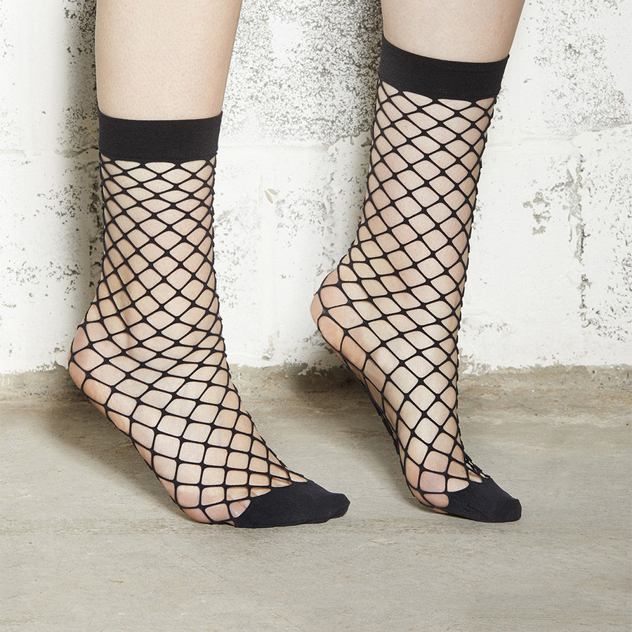 Black Large Mesh Fishnet Socks Mid-Calf - Square