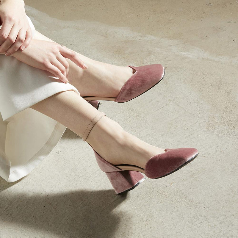 Made to Order | SCARLETT Velvet Heels - Blush Pink