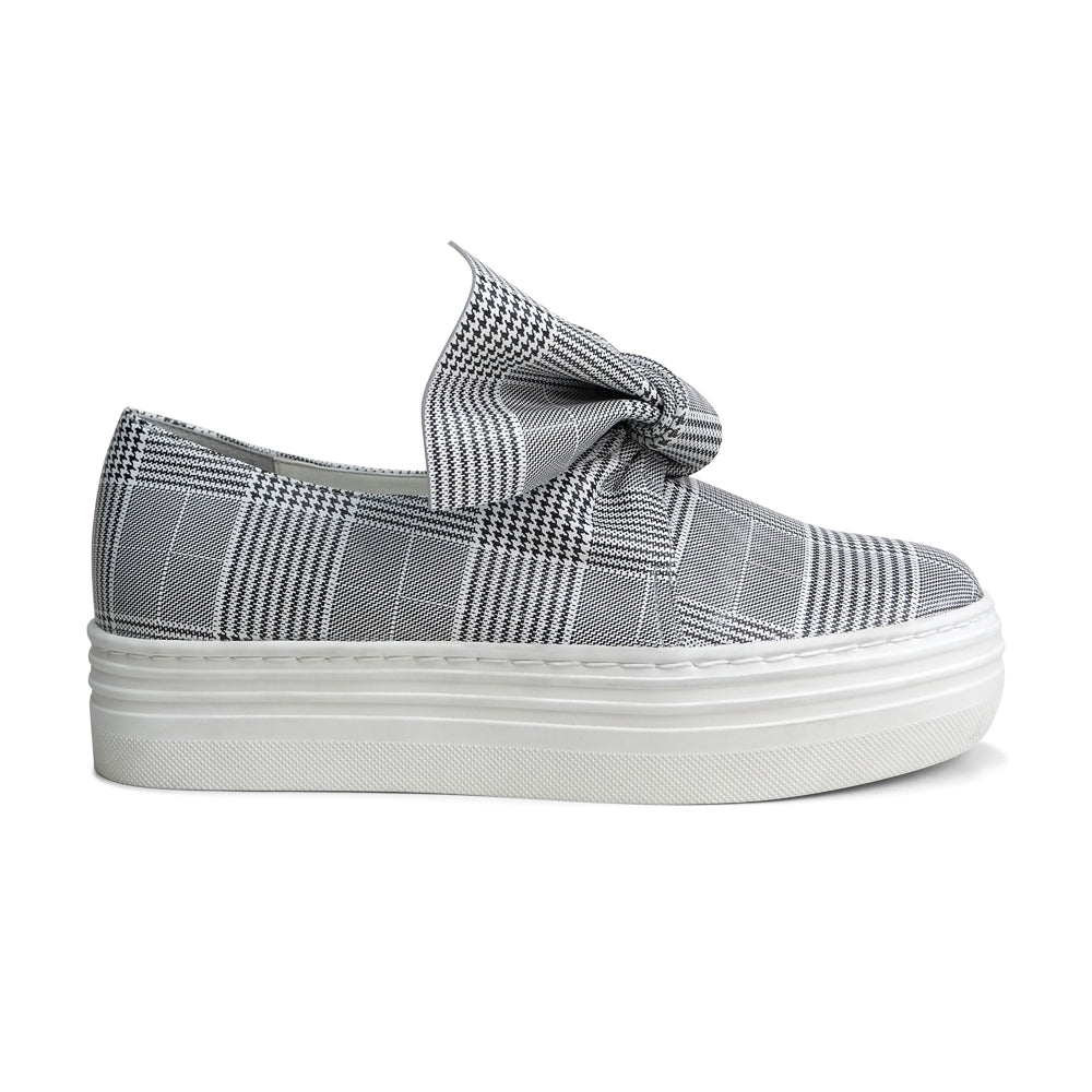 EOD's New Arrival Amelie platform slip-on leather sneaker in grey check print with bow detail - Women's Designer Shoes