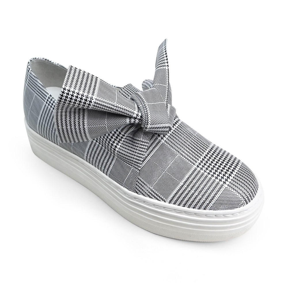 EOD's New Arrival Amelie platform slip-on leather sneaker in grey check print with bow detail perspective - Women's Designer Shoes