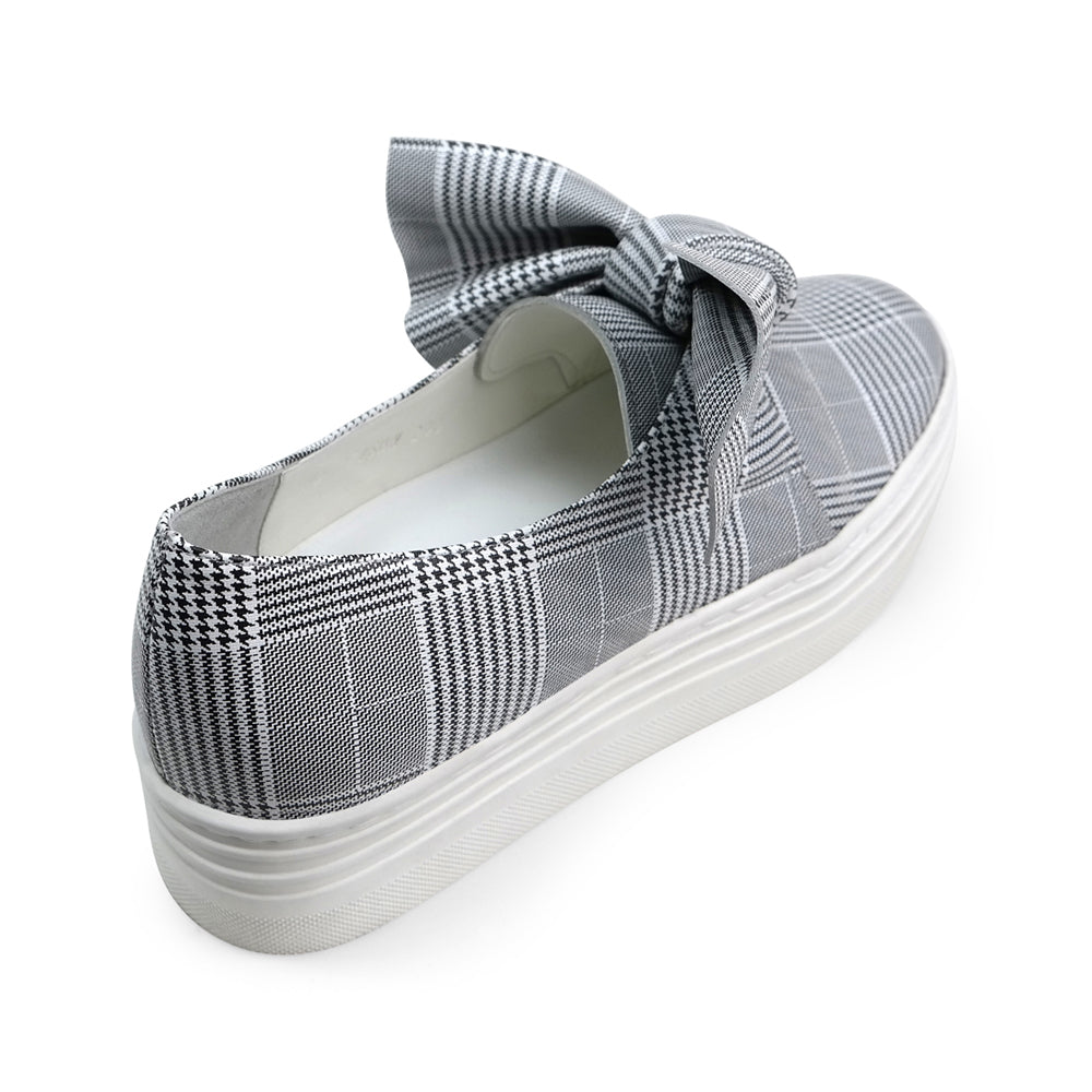 EOD's New Arrival Amelie platform slip-on leather sneaker in grey check print with bow detail back view - Women's Designer Shoes