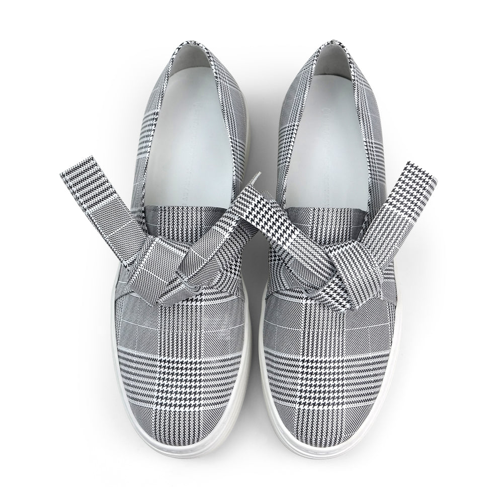 EOD's New Arrival Amelie platform slip-on leather sneaker in grey check print with bow detail top view - Women's Designer Shoes