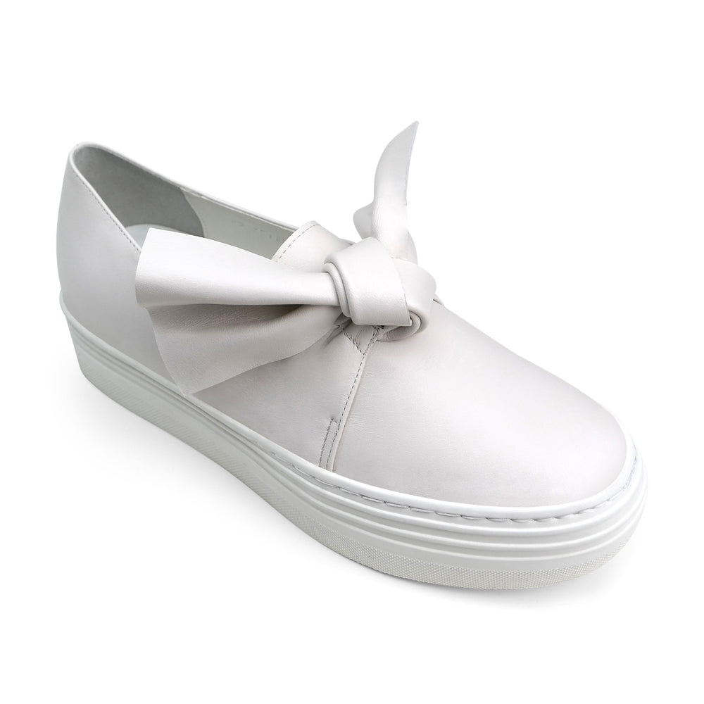 EOD's New Arrival Amelie leather platform slip-on in off-white with bow detail perspective - Women's Designer Shoes