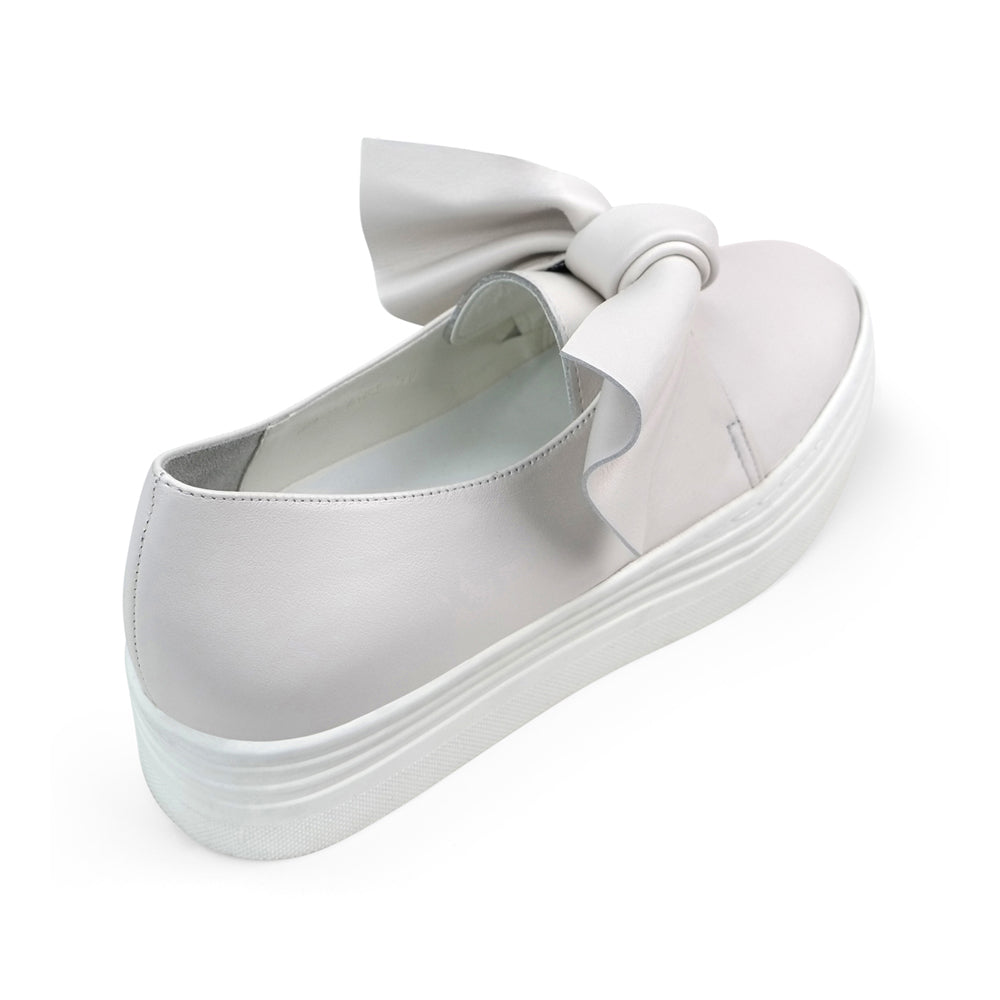 EOD's New Arrival Amelie leather platform slip-on in off-white with bow detail back view - Women's Designer Shoes