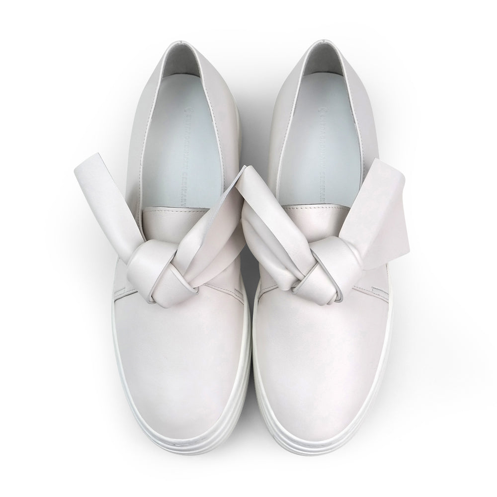 EOD's New Arrival Amelie leather platform slip-on in off-white with bow detail top view - Women's Designer Shoes