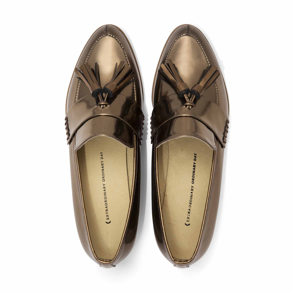 Women's Designer Shoes - Ecstasy Tassel Loafers Metallic Bronze - Flatlay