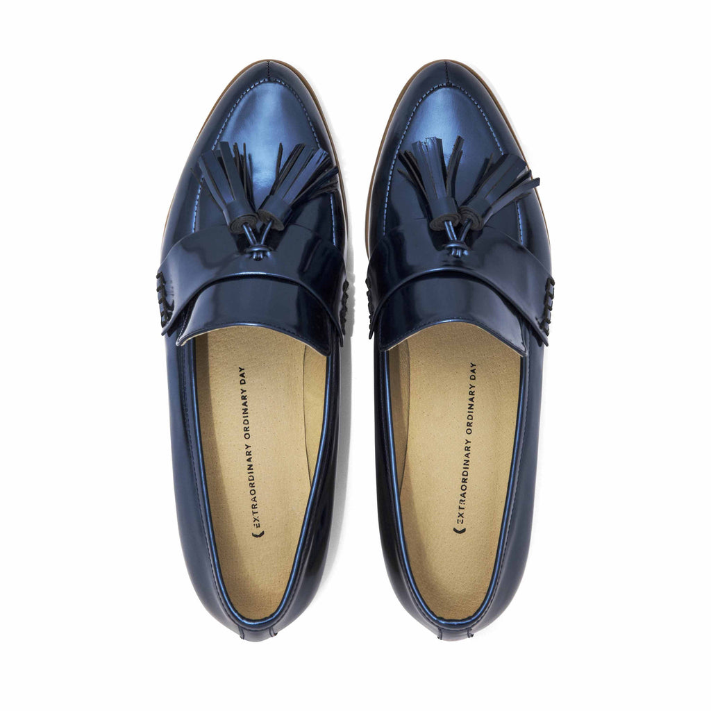 Women's Designer Shoes - Ecstasy Tassel Loafers Metallic Cobalt - Flatlay